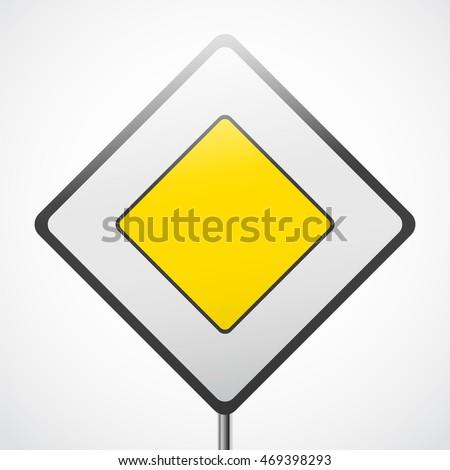 Road priority sign. Main road vector illustration. #469398293