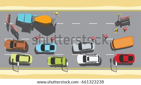 road repair with traffic and