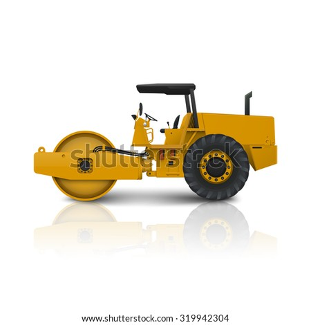 road roller isolated on white