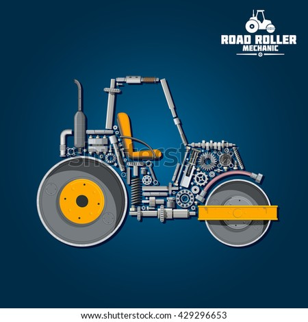 Road roller mechanics scheme with smooth wheel tandem roller composed of heavy steel drums and exhaust stack, gear wheels and pressure hose, seat and axle, crankshaft and ball bearings