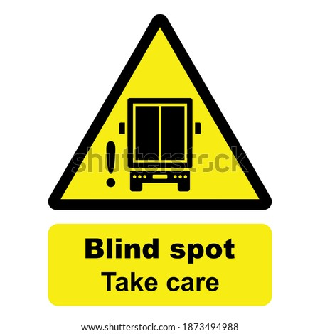 Road safety and traffic sign. Blind spot, Take care. Delivery truck icon. Back view of a lorry. Vector icon isolated on white background. Stockfoto ©