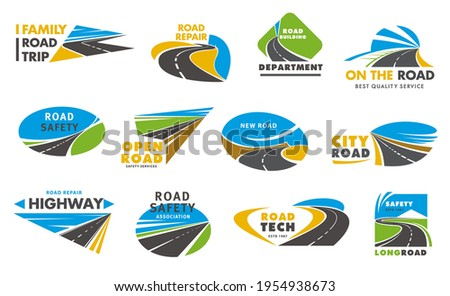 Road safety vector icons, pathway, highway repair. City highway road disappearing into the distance, travel or transportation service isolated emblem design. Driveway symbols, traffic signs, direction Photo stock ©