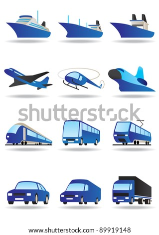 Road, sea and space transport icons set - vector illustration