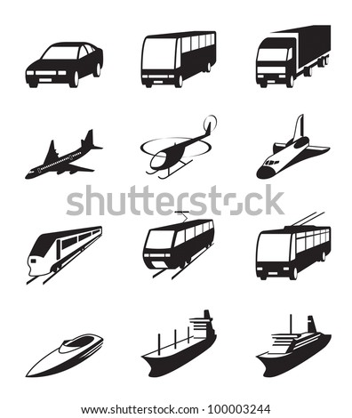 Road, sea and space transportation icons set - vector illustration - stock vector