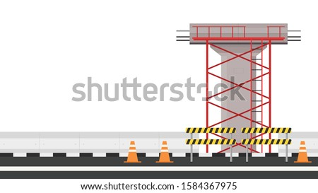 Road side vector. Scaffolding vector. Bridge pillar. Construction. Bridge posts under construction. Road fence.  Bridge over the way. Barricade block vector. stock photo