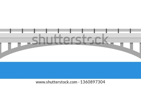 Road side vector. wallpaper. free space for text. copy space. Road fence. Bridge over the water.
