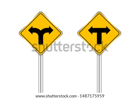 road sign black arrow pointing left and right, traffic road sign yellow isolated on white, yellow traffic sign for left and right, warning caution sign and steel pole for direction signpost the way