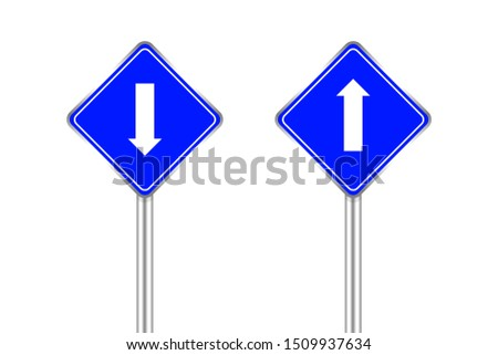 road sign blue and white arrow pointing up and down isolated on white background