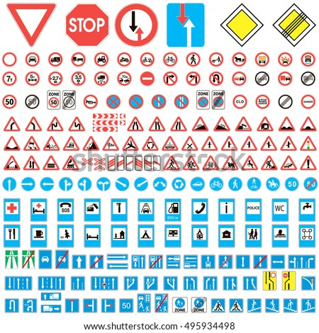 road sign collection. Set of road sign collection warning, priority, prohibitory symbol. vector illustration for print or website design #495934498