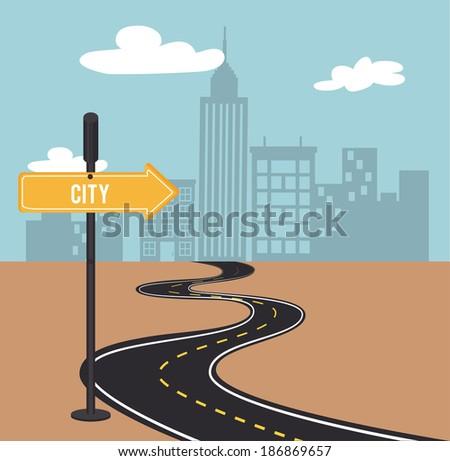 Road sign design over landscape background, vector illustration