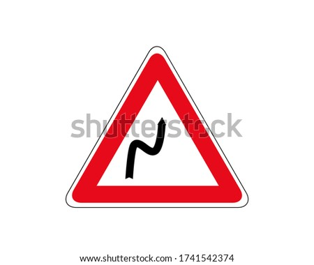 road sign double turn  first