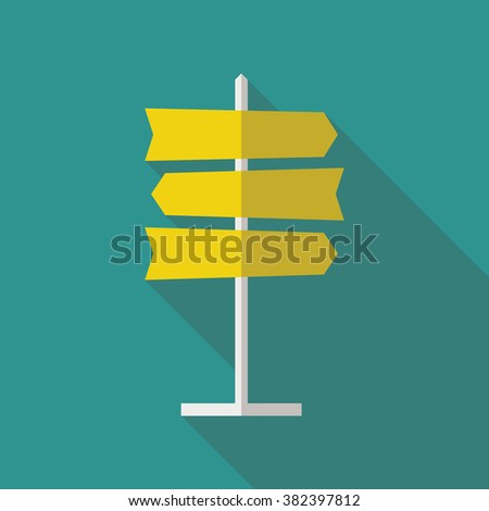 Road sign flat icon. Signpost icon in flat style. Blank template for navigational text. EPS10 clean vector illustration. #382397812