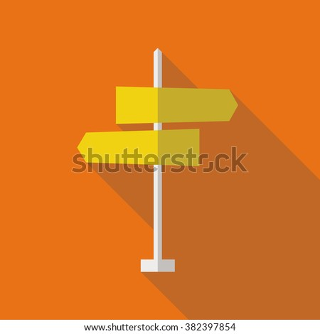 Road sign flat icon. Signpost icon in flat style. Blank template for navigational text. EPS10 clean vector illustration. #382397854
