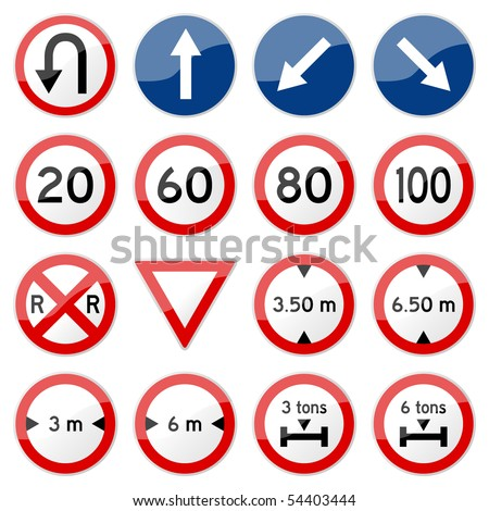 Road Sign Glossy Vector Set 7 of 8