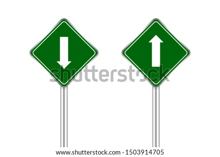 road sign green and white arrow pointing up and down, traffic road sign green isolated on white, green traffic sign ahead and down, warning caution sign and steel pole for direction signpost the way