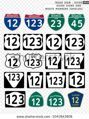 Road sign. Guide. Guide Signs and Route Markers (Shields).  Vector illustration on transparent background