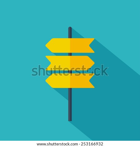Road sign icon. Flat design. Vector illustration