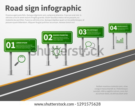 Road sign infographic. Banner traffic street route path, blank direction highways asphalt trip map gps car curved way vector concept Photo stock ©