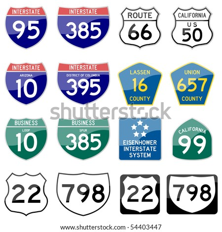 Road Sign Interstate Glossy Vector (Set 8 of 8) - stock vector