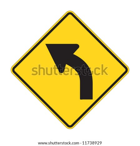 Road Sign - Left Turn Warning