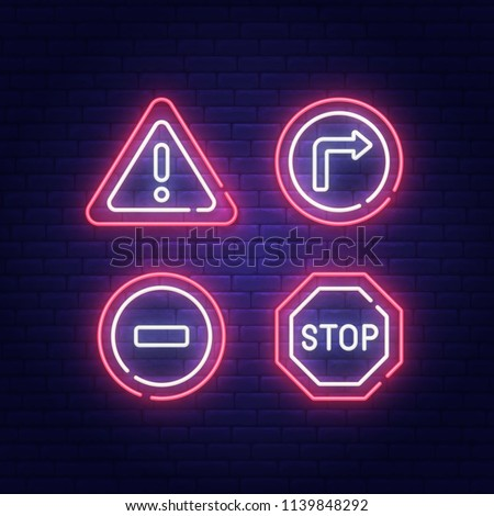 Road Sign neon sign, bright signboard, light banner. Vector illustration