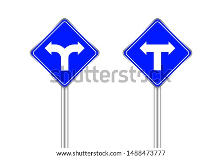 road sign of arrow pointing bend to left and right, traffic road sign blue color isolated on white, traffic sign turn left and right, warning caution sign and steel pole for direction signpost the way