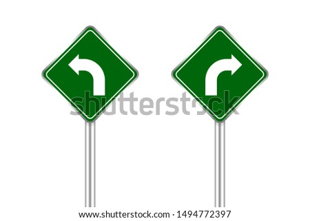road sign of arrow pointing bend to left and right, traffic road sign green isolated on white, traffic sign turn left and right, warning caution sign and steel pole for direction signpost the way