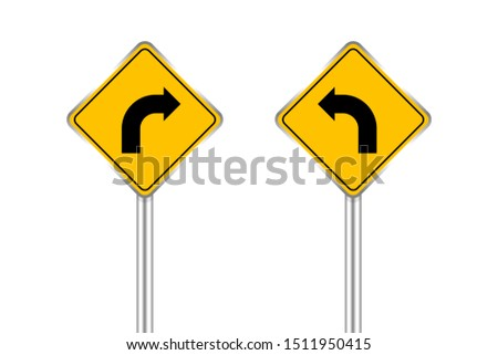 road sign of arrow pointing bend to left and right, traffic road sign yellow isolated on white, traffic sign turn left and right, warning caution sign and steel pole for direction signpost the way