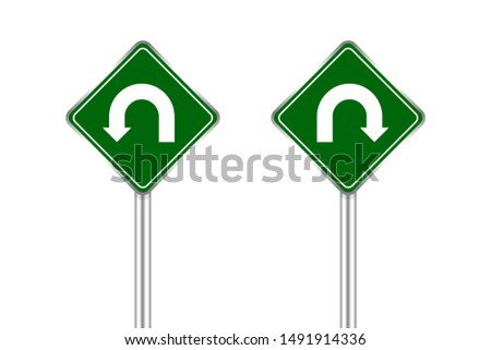 road sign of arrow pointing left and right u-turn, traffic road sign u-turn left and right isolated on white, warning caution sign and steel pole of direction signpost the way, traffic road sign green