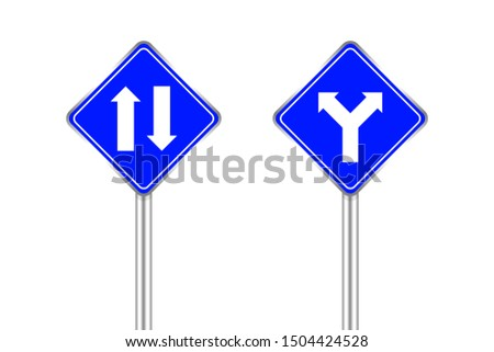road sign of arrow pointing two way traffic ahead and crossroad, traffic road sign blue color isolated on white, warning caution sign and steel pole for direction signpost the way