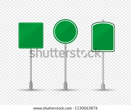 Road sign of permissive movement, direction informing. Sign is green square, circle on metal stand. Landmark on road for car driver. Traffic sign on transparent isolated. Vector illustration. #1130063876
