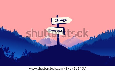 Road sign pointing towards change vs same old in a landscape scene. Change your life, opportunities and personal development concept. Vector illustration. Photo stock ©