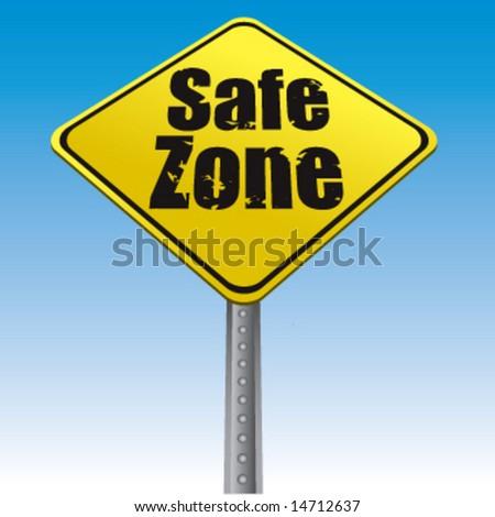 Road sign safe zone vector illustration