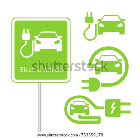 Road sign template of car charging station with a set of icons. vector illustration. flat design #733359178