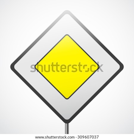 Road sign vector. Priority sign yellow square with black stroke. #309607037