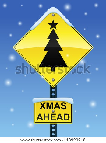 Road sign with Christmas tree on a snowy background