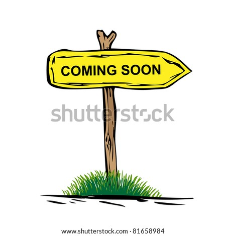 Road sign with green grass isolated on a white background. Come  Soon