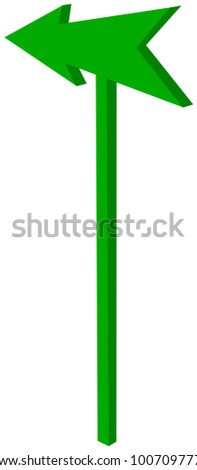 road sign with pointed green arrowhead - 3D Illustration