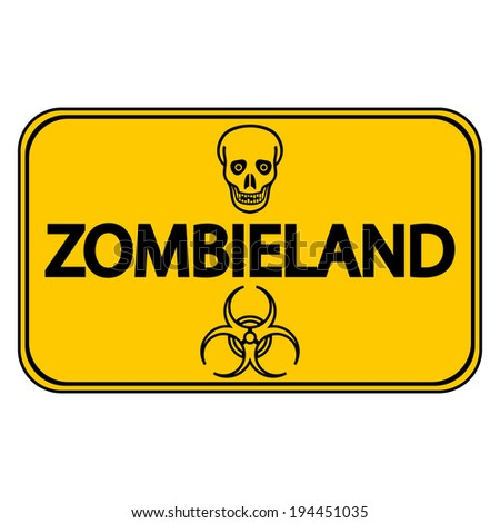 road sign zombieland on white