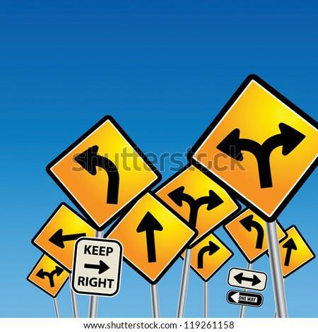 Road signs chaos, vector illustration