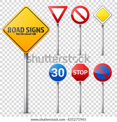 road signs collection road
