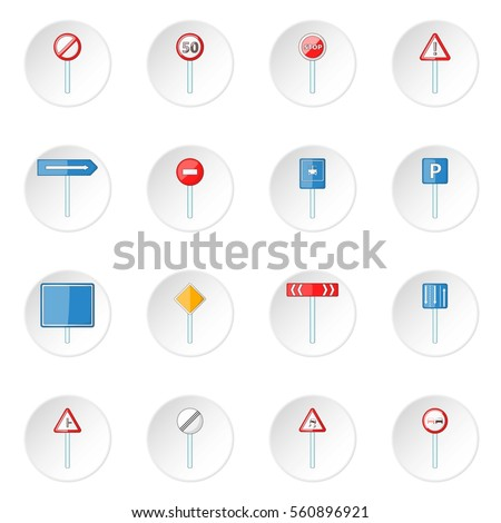 Road signs icons set. Cartoon illustration of 16 road signs vector icons for web