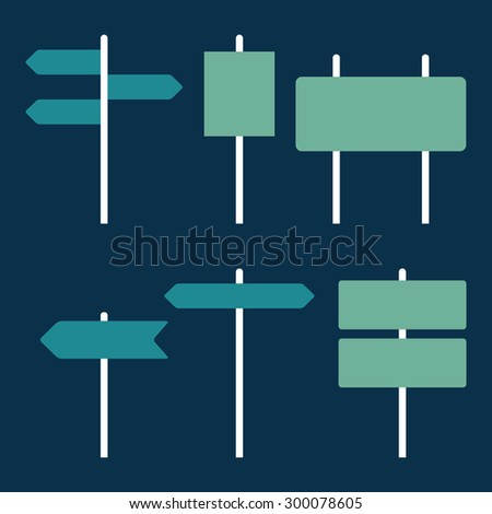 Road signs icons set. Flat design. Vector illustration #300078605