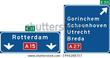 Road signs in the Netherlands, High level motorway information sign showing lane instructions for through traffic and exit panel showing intermediary destinations, with the motorway number and Europea Stock photo ©