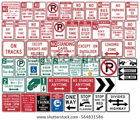 Road signs in the United States. One Way and Divided Highway, Parking, Emergency Restrictions. Vector Format