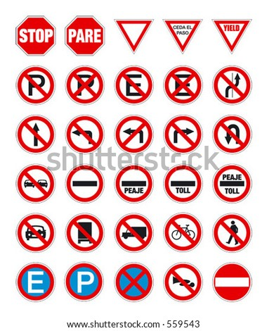 road signs in vector format pack 1