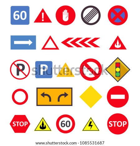 Road signs isolated on a white background.