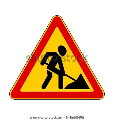 road signs roadworks ahead