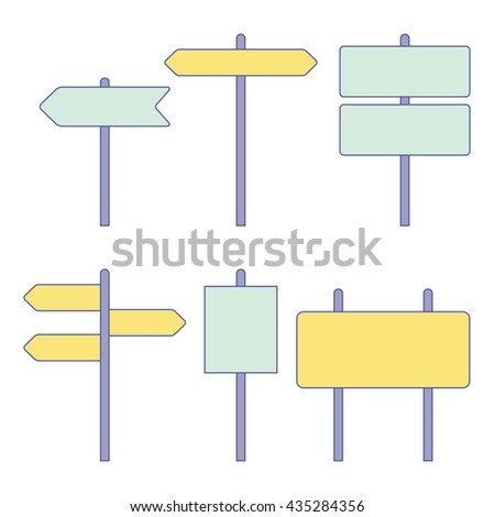 Road signs. Street signs. Traffic signs. Highway signs. Vector illustration #435284356