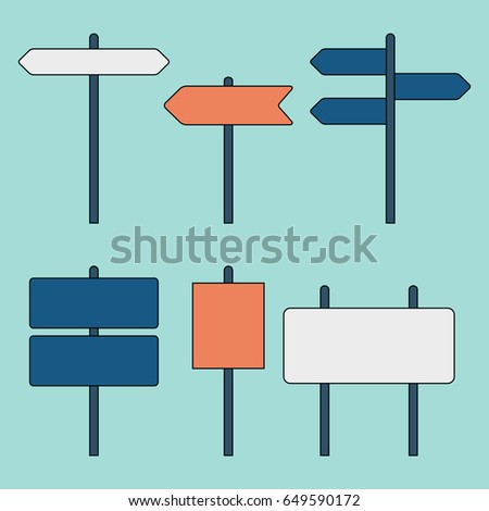 Road signs. Street signs. Traffic signs. Highway signs. Vector illustration #649590172